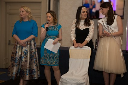 A Stylish Afternoon Tea: Rosemary Steen from Eirgrid, Fiona Sherlock, MC Cathy O'Connor and Meath Rose Treasa Sheridan choosing the Best Dressed Winner