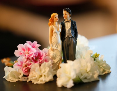 French wedding cake topper with flowers