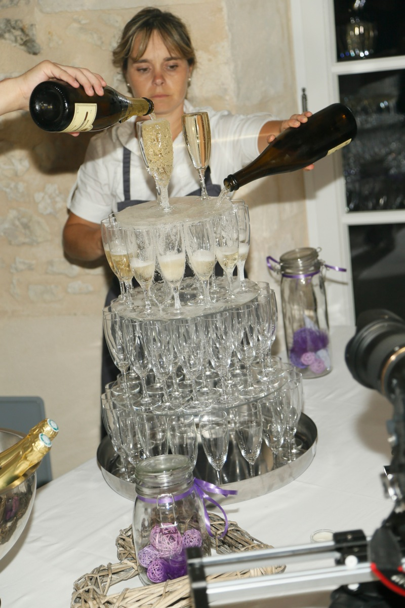 Champagne tower wedding in France