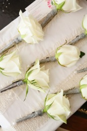 white rose buttonholes wedding in France