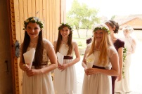 Flower girls junior bridesmaids at a wedding in France