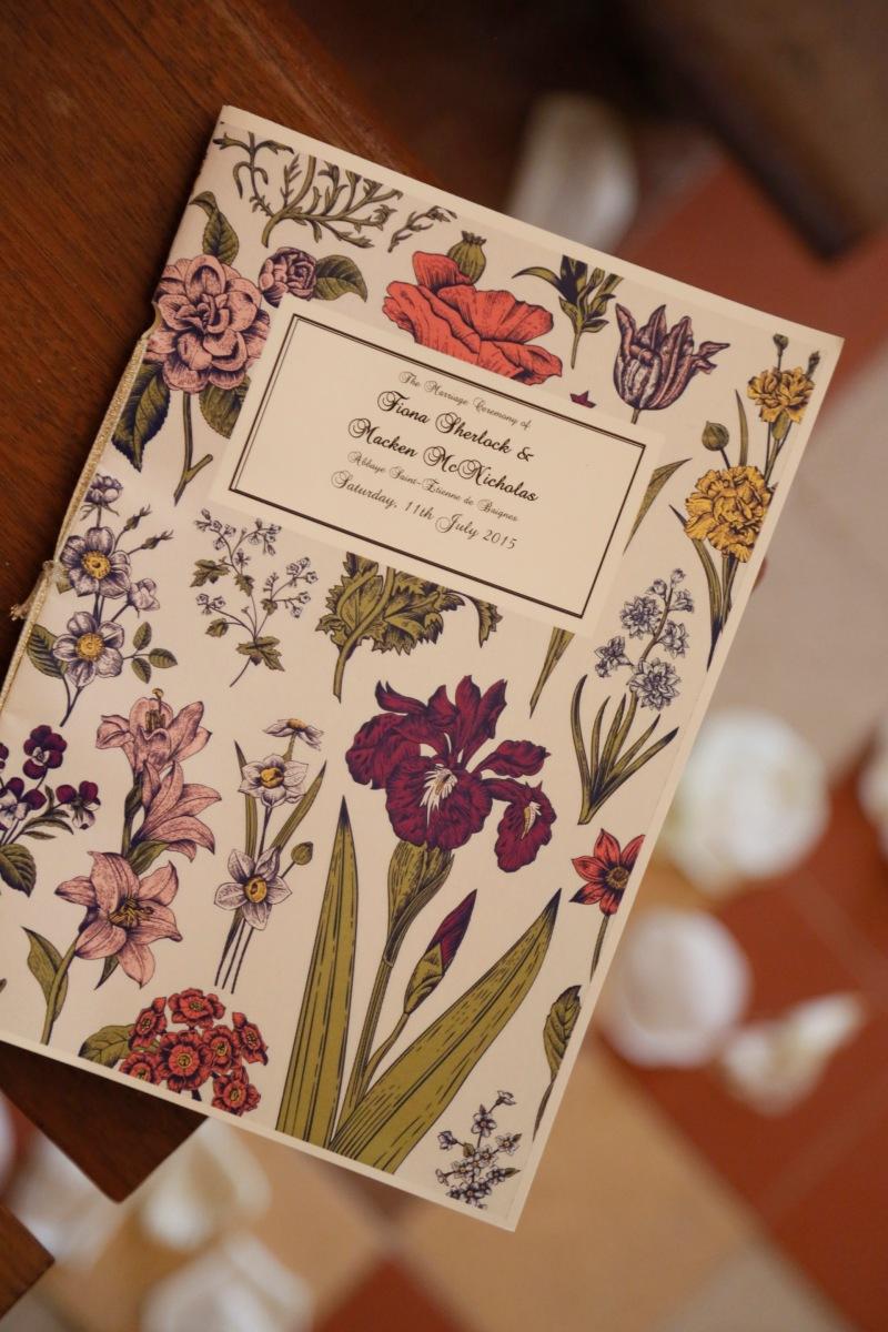 Planning a wedding in France - Printable floral wedding menu